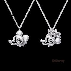 米奇&米妮系列10K白金鑽石項鍊