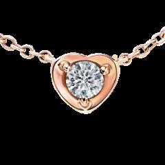 戀心 18K玫瑰金 輕珠寶鑽石項鍊