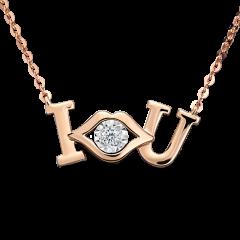Kiss系列-吻 18K玫瑰金 輕珠寶鑽石項鍊