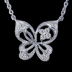 彩蝶 10K金 輕珠寶鑽石項鍊