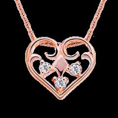 小歡心 10K玫瑰金 輕珠寶鑽石項鍊
