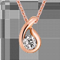 凝視 10K玫瑰金 輕珠寶鑽石項鍊