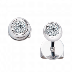 極光系列 18K金 圓形貼式耳環