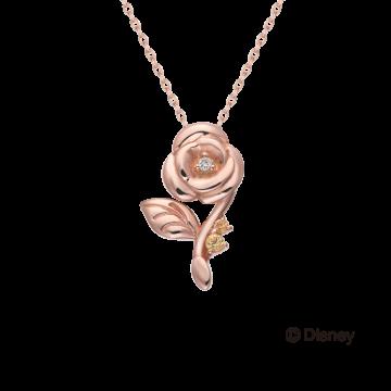 美女與野獸玫瑰花鑽石項鍊